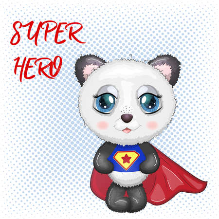 Cute little panda with big eyes in a cloak by a super hero, greeting card illustration, inscription Super Hero