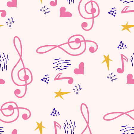 Treble clef, notes, heart, stars, abstract elements seamless pattern in pink, blue pastel colors. Music backdrop. Ilustração