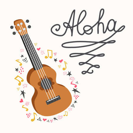 Cartoon ukulele with lettering text for summer, music poster template design. Small guitar with four-string guitar with notes, treble clefs, inscription Love music. hand drawn style.