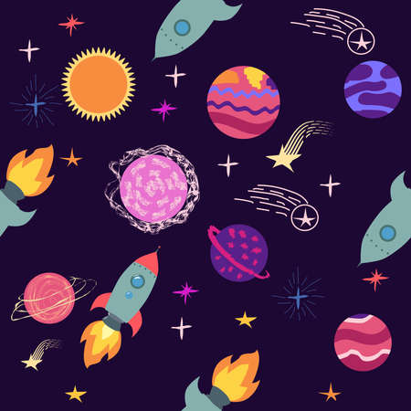 Seamless space pattern. Planets, rockets and stars. Cartoon spaceship icons. Hand drawn Ilustração