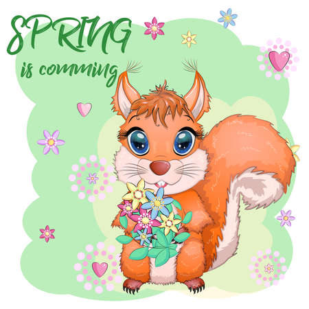 Couple of cute cartoon squirrel with beautiful eyes with flowers, wreath, Spring is coming inscription