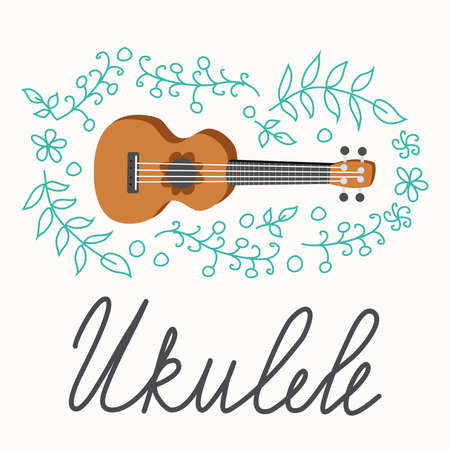 Ukulele and tropical leafs. four-string guitar hand drawn illustration. Ukulele surfing lettering.