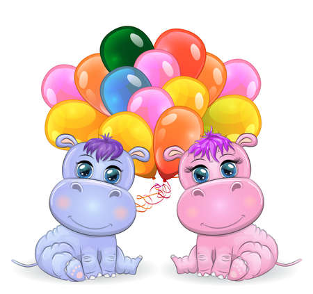 Two Cute cartoon hippo with beautiful eyes with balloons, a boy and a girl. greeting card, baby shower invitation card.