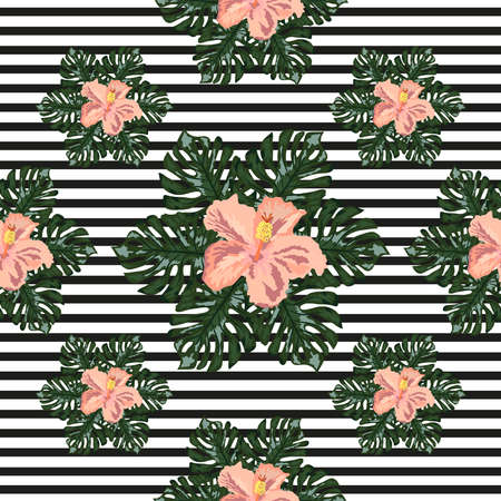 hand draw tropical flower, blossom cluster seamless pattern background, strip distortion, hibiscus flower