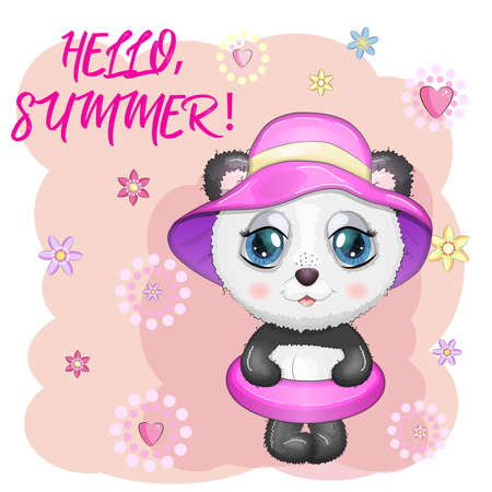 Cute cartoon panda with big eyes in a swimming circle. Summer is coming