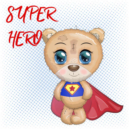 Cute little bear with big eyes in a cloak by a super hero, greeting card illustration, inscription Super Hero.