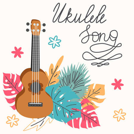 Ukulele and tropical leafs. four-string guitar hand drawn illustration. Ukulele song lettering.