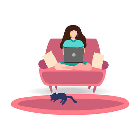 A woman works on a laptop at home on the couch. Freelance concept, quarantine due to covid-19. Ilustração