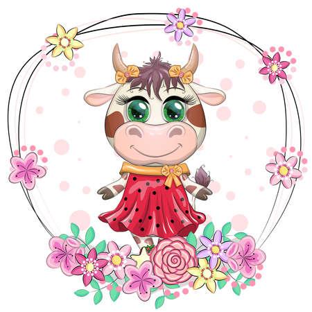 Cute Cartoon Princess Cow on a heart background.