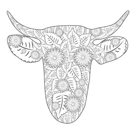 Hand drawn doodle outline cow head decorated with ornaments.