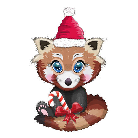 Red panda with candy kane in santa hat, cute character, new year and christmas greeting card, rare animals Ilustração