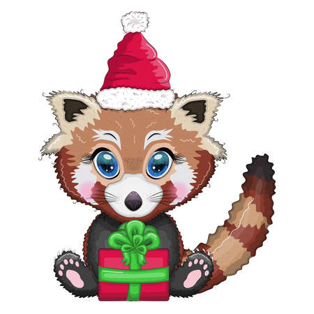 Red panda in santa hat with a gift, cute character, new year and christmas greeting card, rare animal Ilustração