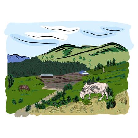 Beautiful hand drawn sketch and color illustration cow and mountains. Eco farm Ilustração
