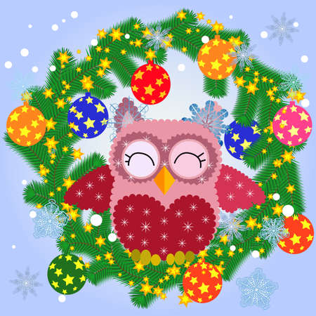 Greeting Christmas card Cute Cartoon Owl with Christmas tree on a blue background