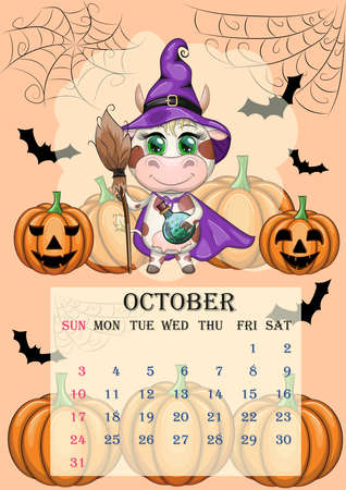 Calendar 2021. Cute cow for October. Cow witch in a raincoat, hat and with a broom, pumpkins, Jack, Halloween, bats and a cobweb.