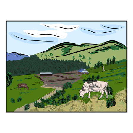 Beautiful hand drawn sketch and color illustration cow and mountains. Eco farm Illusztráció