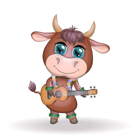 Cute cartoon bull, cow with beautiful eyes, Hawaiian hula dancer character with ukulele guitar among leaves, flowers. Tropical New Year Chinese cute bull mascot 2021