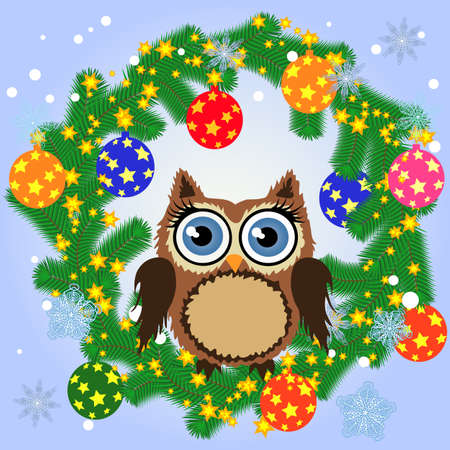Greeting Christmas card Cute Cartoon Owl with Christmas tree on a blue background.