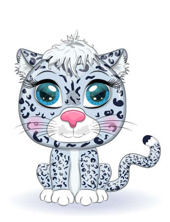 Cartoon snow leopard with expressive eyes. Wild animals, character, childish cute style.