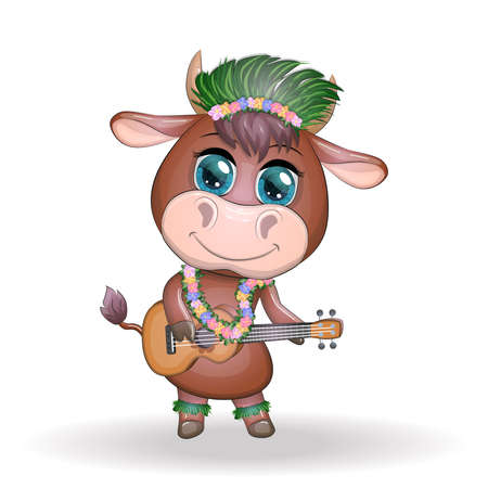 Cute cartoon bull, cow with beautiful eyes, Hawaiian hula dancer character with ukulele guitar among leaves, flowers. Chinese new year cute bull mascot 向量圖像