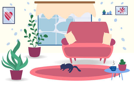 Living room interior design with sleeping cat, plants and furniture sofa, pillows, plant and table with cactus and cup. Modern interior design. Flat style Stock Illustratie