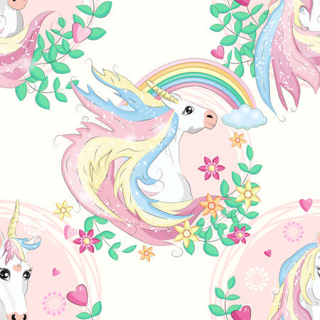 Seamless pattern with magic unicorns, rainbow, flovers, hearts, confetti and other elements Stock Illustratie