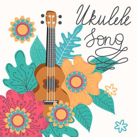 Ukulele and tropical leafs. four-string guitar hand drawn illustration. Ukulele song lettering.