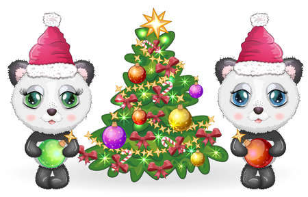 Couple Cute cartoon panda bear with big eyes in a red Santa Claus hat near the Christmas tree. Greeting card, New Year, girl and boy