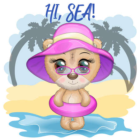 Cute cartoon bear with big eyes in a swimming circle. Summer is coming