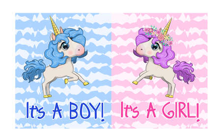 Baby Shower Greeting Card with cute Cartoon Unicorn girl and boy. Stock Illustratie