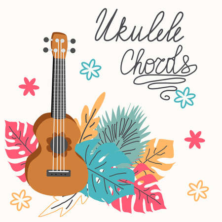 Ukulele and tropical leafs. four-string guitar hand drawn illustration. Ukulele chords lettering Stock Illustratie