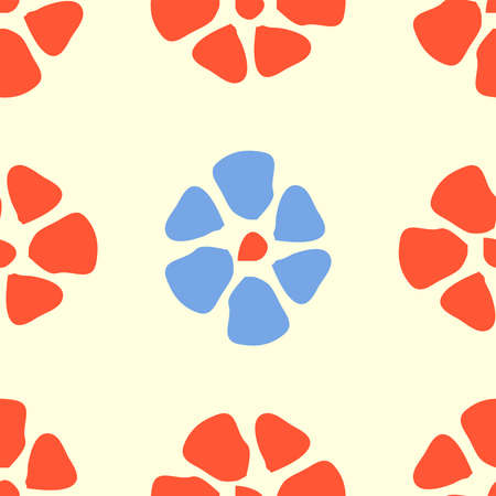 Colorful floral seamless pattern with simple flower