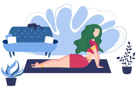 Relaxed young woman enjoying rest. Girl meditates. Trendy flat cartoon style. Urban jungle. Meditation at Home