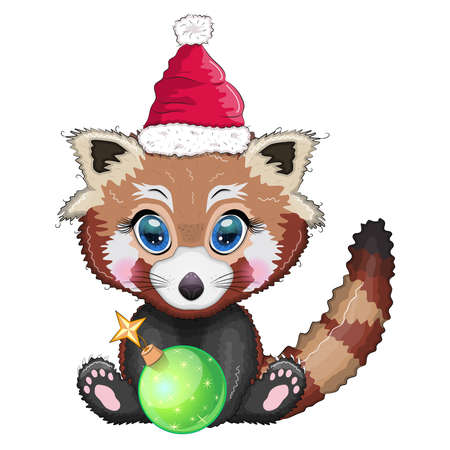 Red panda in santa hat with christmas tree ball, cute character, new year and christmas greeting card, rare animals. Stock Illustratie