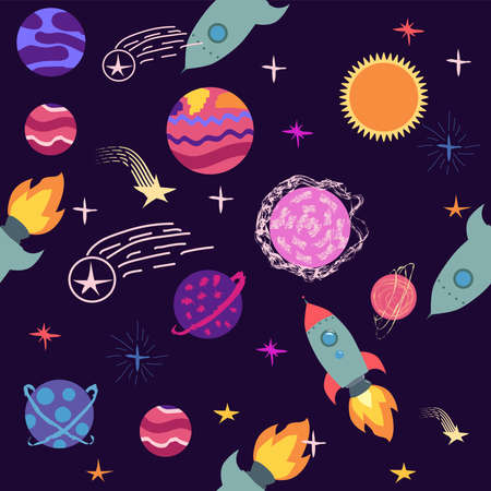 Seamless space pattern. Planets, rockets and stars. Cartoon spaceship icons. Hand drawn Stock Illustratie