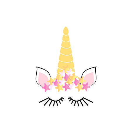 Unicorn minimalistic face. horn. cute Unicorn sleeping Stock Illustratie