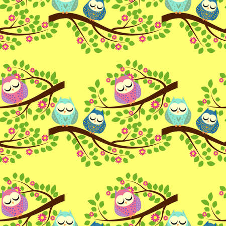 Cute colorful floral seamless pattern with owl and bird.