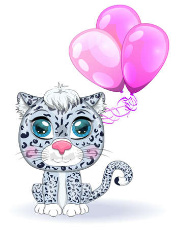 Cartoon snow leopard with expressive eyes with balloons, holiday concept, birthday. Wild, rare animals, character, children s cute style.