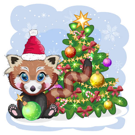 Red panda in santa hat with a ball near the christmas tree, cute character, christmas and new year greeting card, rare animals.