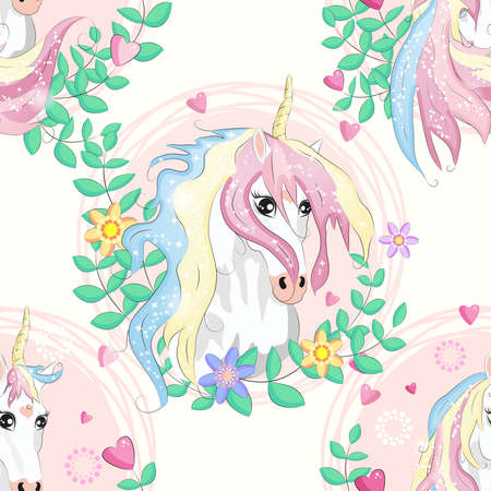 Seamless pattern with magic unicorns, rainbow, flovers, hearts, confetti and other elements Çizim