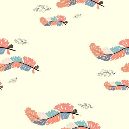 Colorful cute seamless pattern with variety of feathers Stock Illustratie