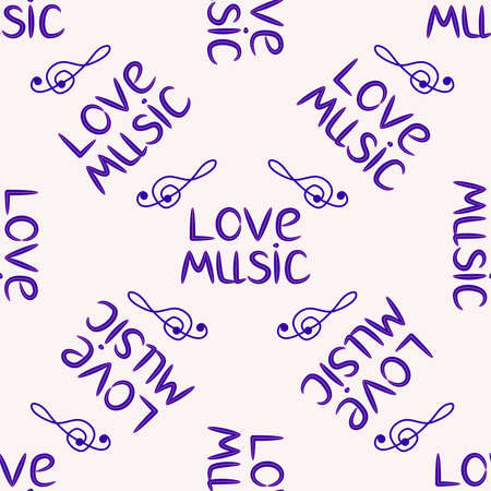 Love music seamless pattern with treble clef, hearts, decorative elements