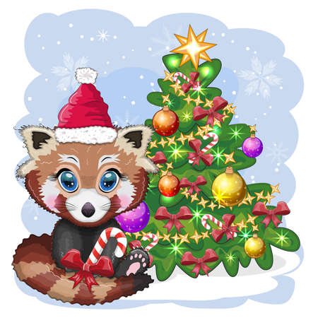 Red panda in santa hat with candy kane near the christmas tree, cute character, christmas and new year greeting card, rare animals