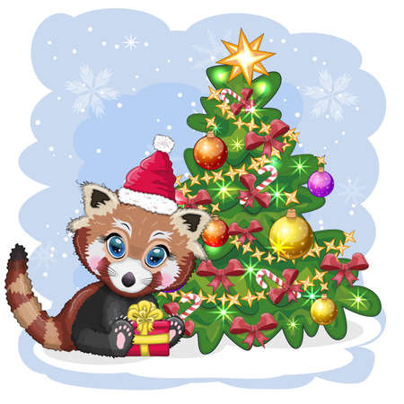 Red panda in santa hat with a gift near the christmas tree, cute character, christmas and new year greeting card, rare animals