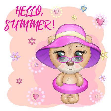 Cute cartoon bear with big eyes in a swimming circle. Summer is coming Ilustración de vector