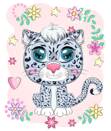 Cartoon snow leopard with expressive eyes among flowers, hearts, decorative elements. Wild animals, character, childish cute style. Ilustracja