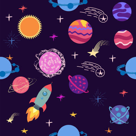 Seamless space pattern. Planets, rockets and stars. Cartoon spaceship icons. Hand drawn Ilustracja