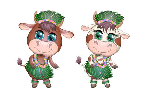 A pair of cute cartoon bull and cow with beautiful eyes is the character of a Hawaiian hula dancer among leaves, flowers
