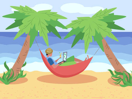 A man works at a laptop while lying in a hammock on the beach, among the palm trees on the seashore. Freelance concept. Ilustracja