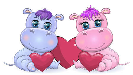 Two Cute cartoon hippo with beautiful eyes among the hearts of a boy and a girl. greeting card, valentines day design Ilustracja